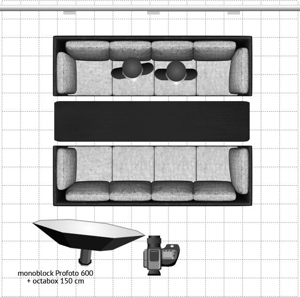 Схема света для выравнивания экспозиции в помещении