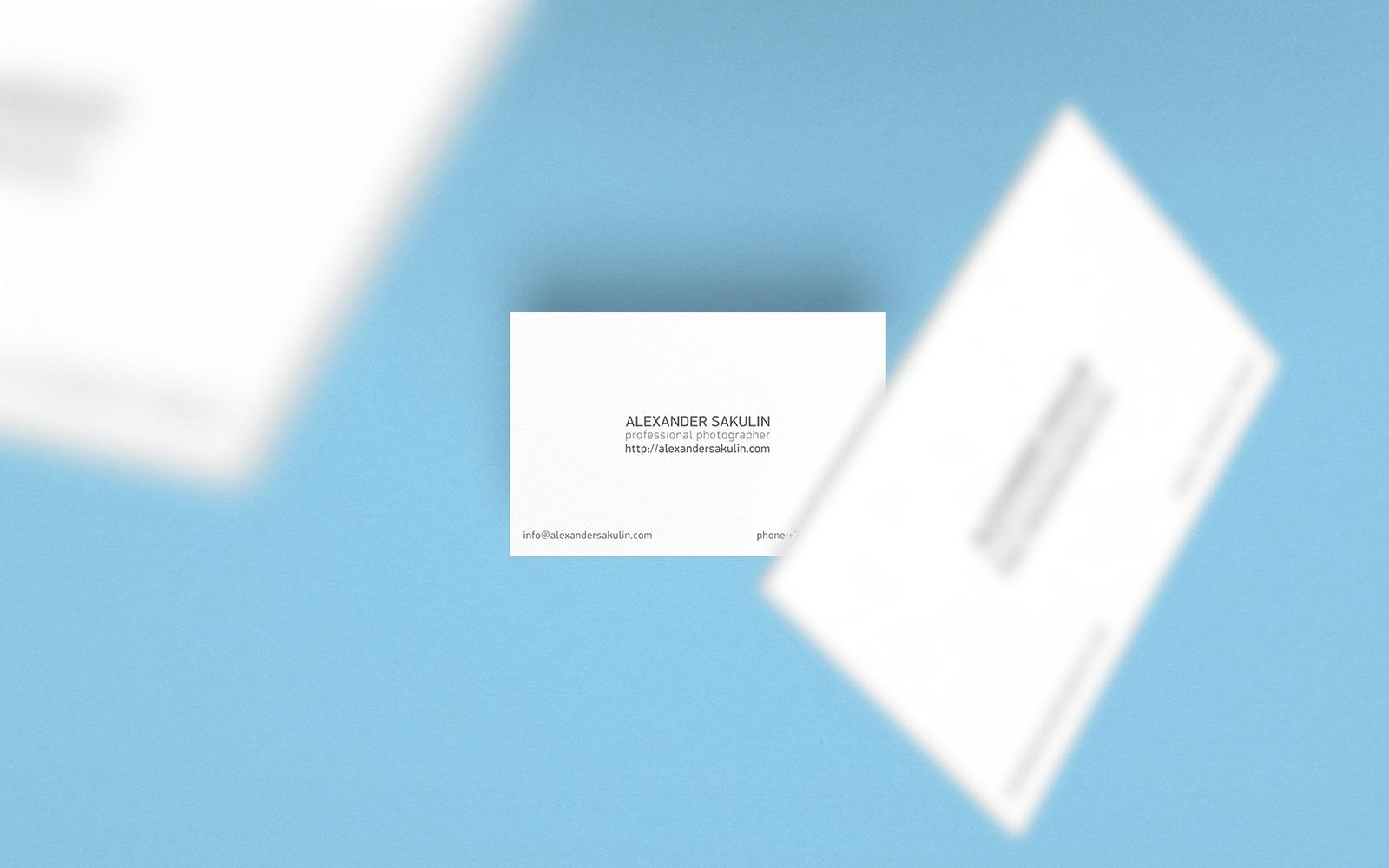 Фотограф Александр Сакулин, дизайн визитной карточки