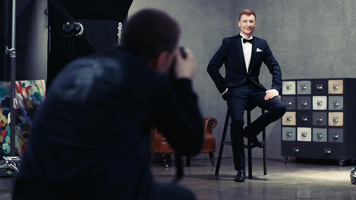 Процесс портретной съемки для клуба ведущих BESTSHOWMEN. Фотограф Александр Сакулин